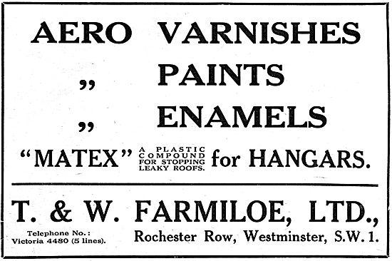 T. & W.Farmiloe. Paints, Varnishes, Dopes & Accessories. MATEX