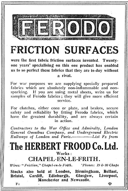 Ferodo Friction Surfcaces For Aircraft