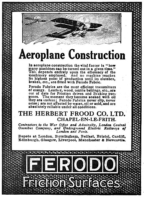 Ferodo Fabrics For Aircraft - 1919 Advert