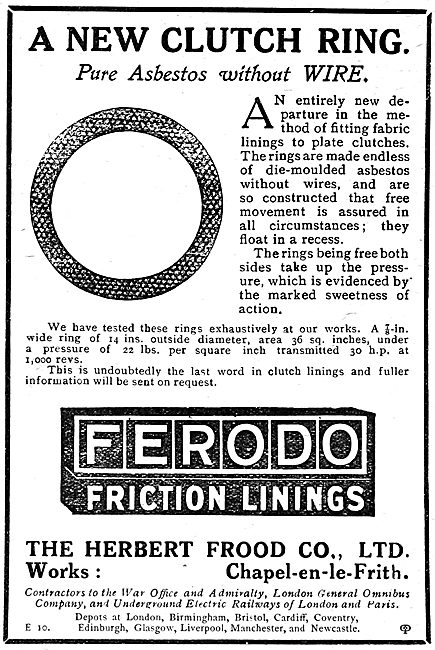 Ferodo Friction Linings For Aircraft - 1920