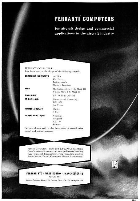 Ferranti Computers For Aircraft Design. Ferranti Pegasus