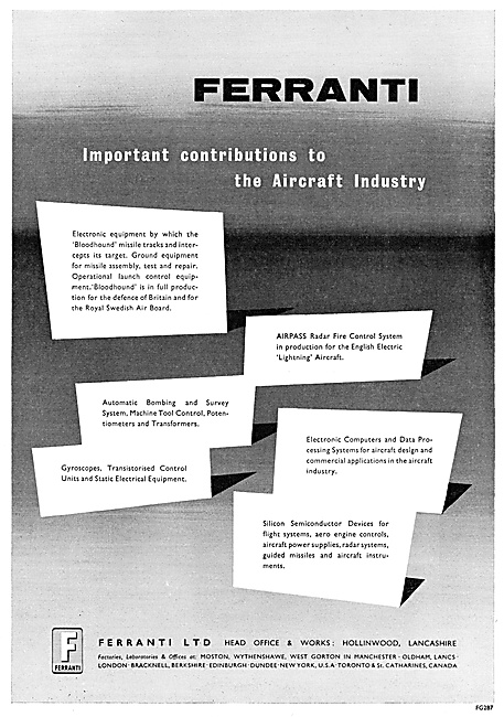 Ferranti Aerospace Products 1959