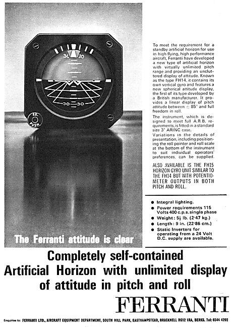 Ferranti Avionics FH14 Standby Artificial Horizon