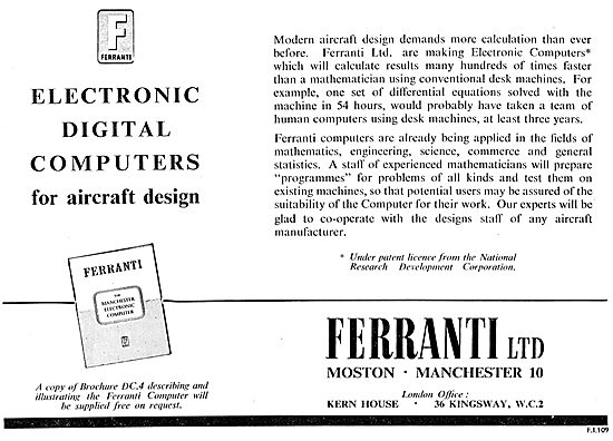 Ferranti Electronic Digital Computers For Aircraft Design