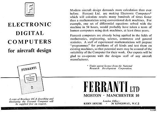 Ferranti Electronic Digital Computers For Aircraft Design
