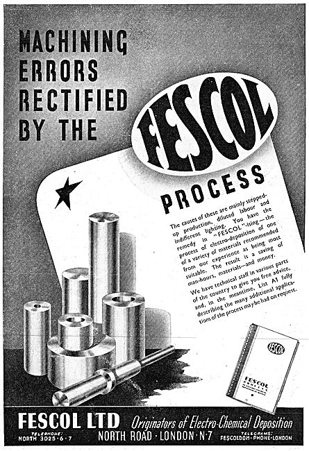 Fescol Electro Chemical Deposition. Fescolised 1942 Advert