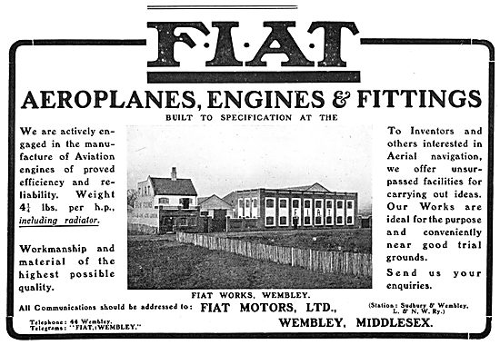 FIAT Motors Ltd. (Wembley) - Aeroplanes, Engines & Fittings