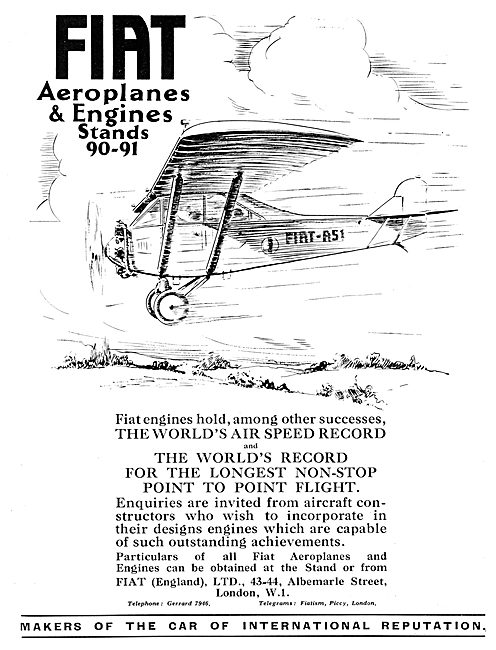 Fiat Aeroplanes & Engines 1929 Advert  FIAT A-51