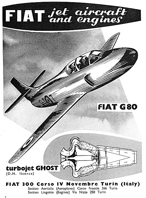 Fiat Jet Aircraft And Engines: Turbojet Ghost (DH Licence)