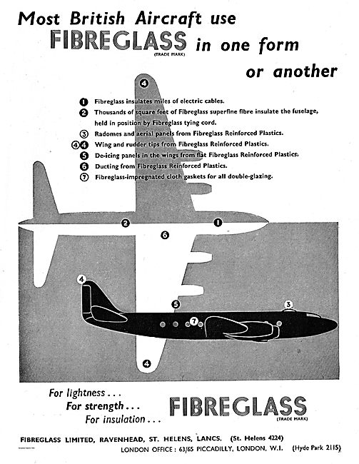 Most British Aircraft Use Fibre Glass From Fibreglass Ltd