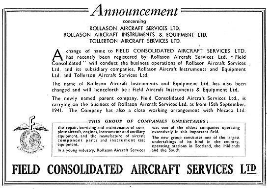 Field Consolidated Aircraft Services Tollerton. Rollason Necaco
