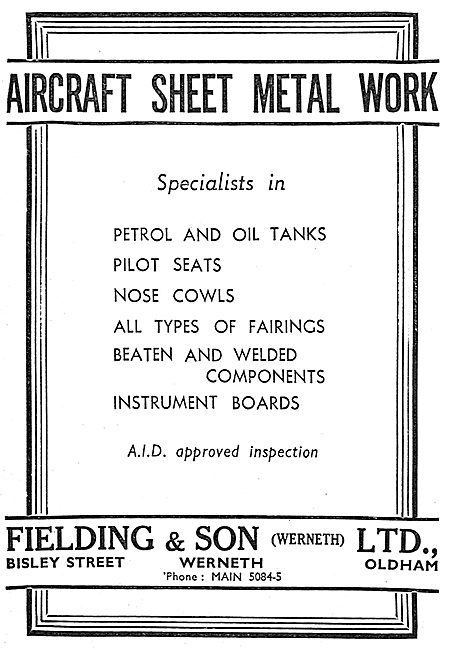 Fielding & Son Aircraft Sheet Metal Work. Bisley St, Oldham.