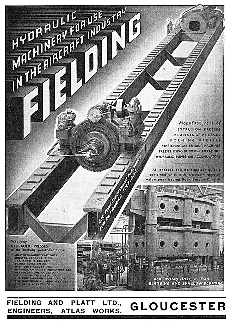 Fielding & Platt Ltd: Gloucester. Hydraulic Machine Tools 1939