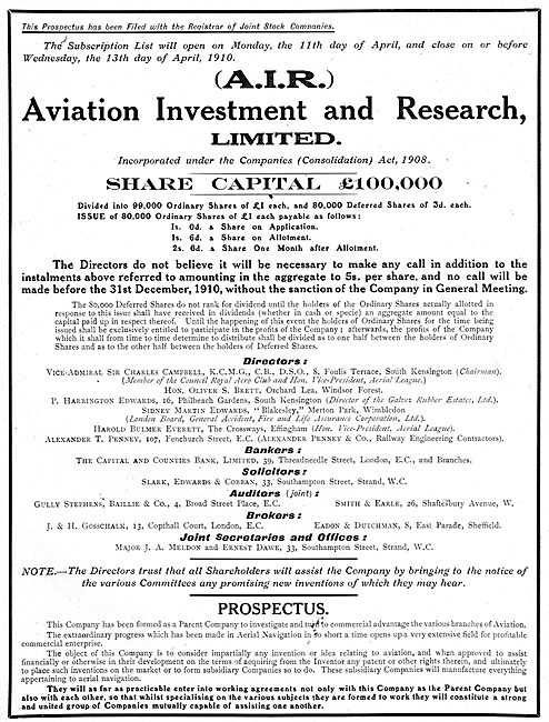 Aviation Investment & Research Ltd - Shares Offer