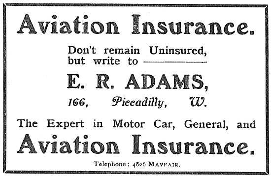 E.R.Adams Aviation Insurance. 166 Picadilly.