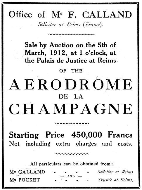 Sale By Auction March 1912 - Aerodrome De La Champagne
