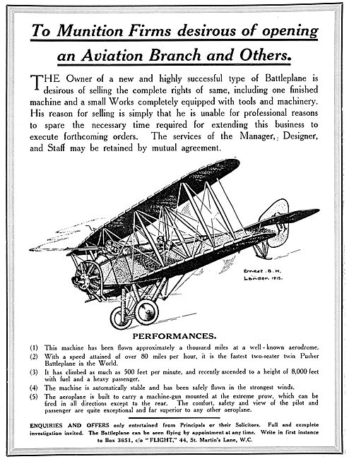 Aircraft Works & Aircraft For Sale.- Battleplane 1915
