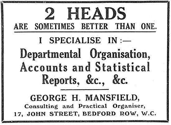 George H.Mansfield Departmental Organisation & Accounts