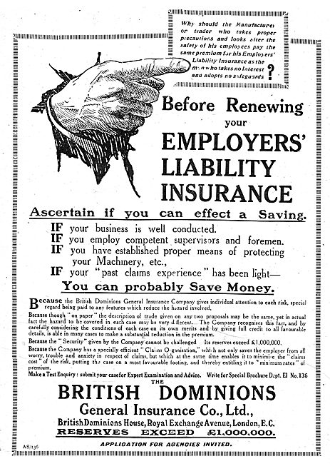 British Dominions General Insurance Co Ltd. Employers Liability