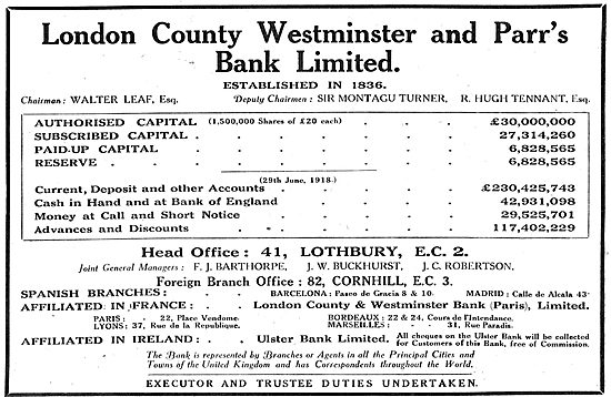London County Westminster & Parrs Bank Ltd: Walter Leaf