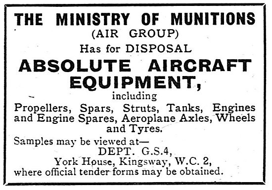 The Ministry Of Munitions - Disposal Of Surplus Equipment. 1918