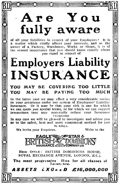Eagle Start & British Dominions Insurance Company - 1919 Advert