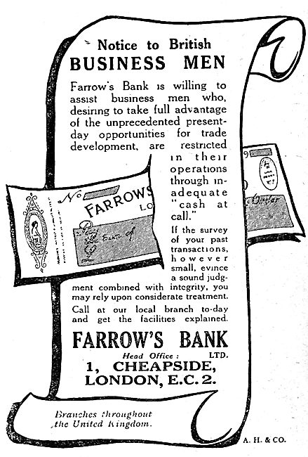 Farrow's Bank - 1919 Advert