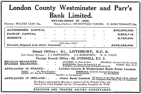 Assets Of The London County Westminster & Parr's Bank Ltd