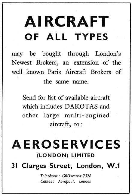 Aeroservices Aircraft Brokers - Clarges St LOndon