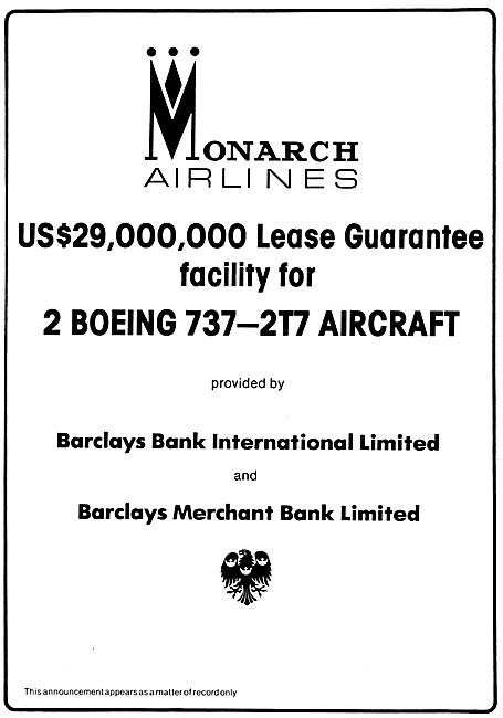 Barclays Merchant Bank Monarch Airlines Lease Guarantee