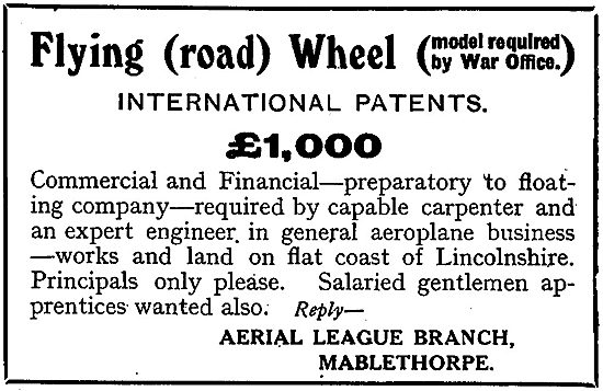 Finance & Gentlemen Tradesmen Required For Flying (Road) Wheel