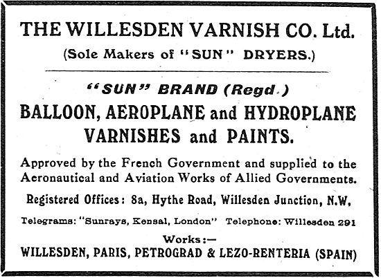 The Willesden Varnish Co - Paints For Aeroplanes.