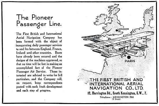 The First British & International Aerial Navigation Co Ltd. 1918