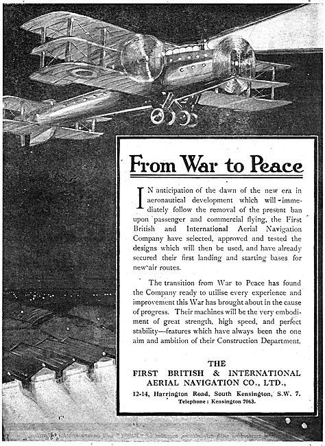 The First British & International Aerial Navigation Company. 1918