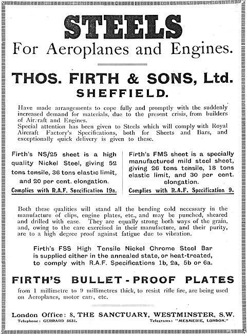 Thos Firth Royal Aircraft Factory Specification Aircraft Steels