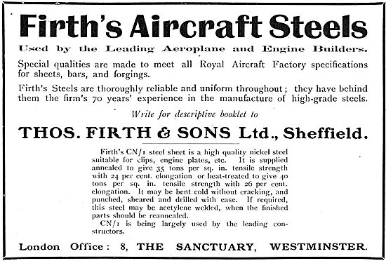 Thos Firth Sheffield: Aircraft Steels