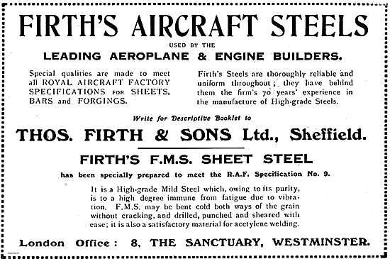 Firth's Aircraft Steels Used By Leading Aeroplane & Engine Makers