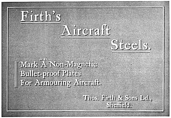 Thos Firth & Sons Aircraft Steels 1916