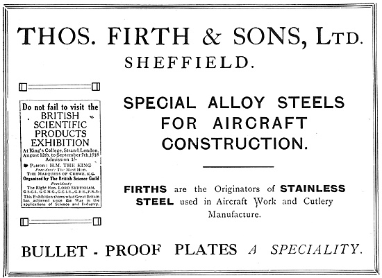 Thos Firth & Sons Special Alloy Steels For Aircraft Construction