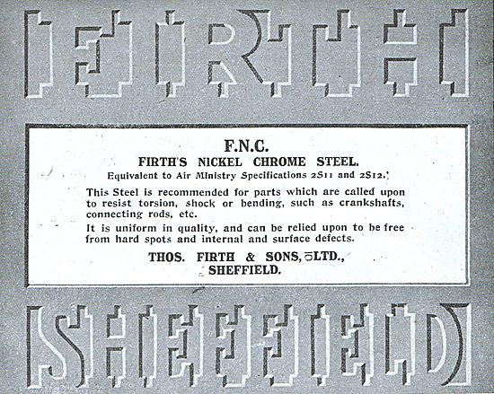Thos Firth Nickel Chrome Steel For Aircraft Constructors