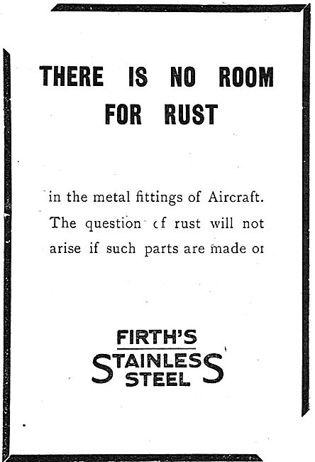 Thos Firth & Sons - There's No Room For Rust In Aircraft Fittings