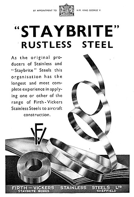Firth-Vickers Stainless Steels - Staybrite Rustless Steel 1935