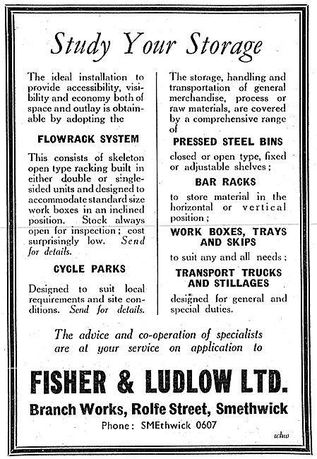 Fisher & Ludlow Factory Equipment.