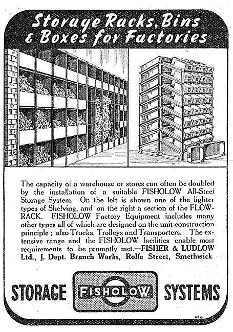 Fisher & Ludlow Factory Equipment. Storage Racks & Bins
