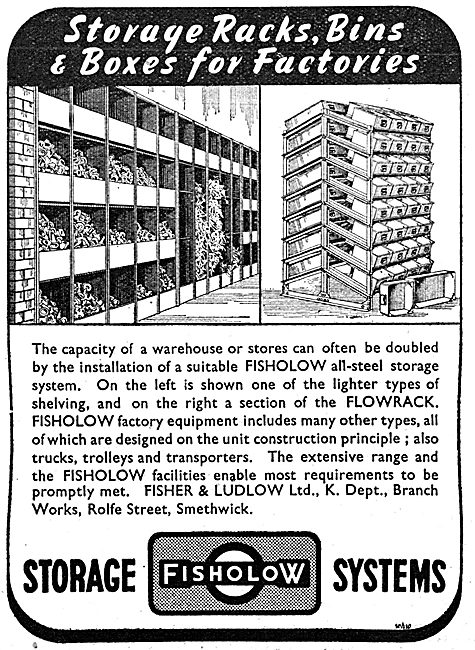 Fisher & Ludlow Factory Equipment. - Storage Systems 1943