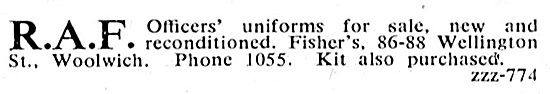 Fishers For New Or Reconditioned RAF Officers' Uniforms