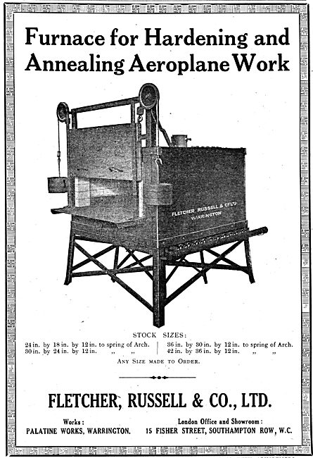 Fletcher Russell Annealing Furnaces For Aeroplane Work