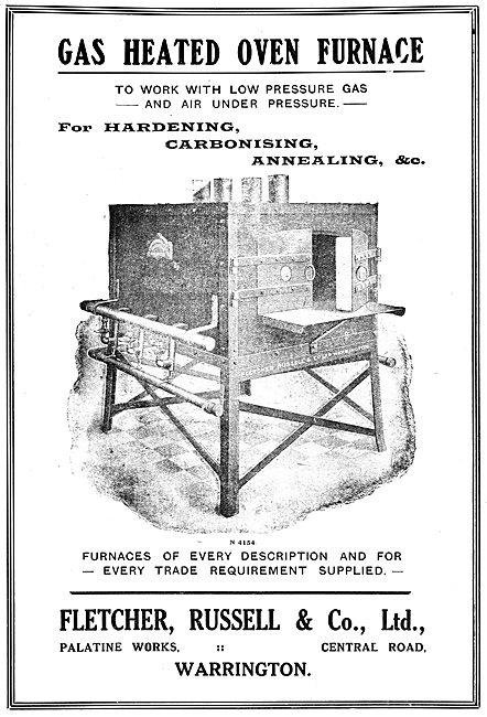 Fletcher Russell Gas heated Oven Furnace. 1919 Advert