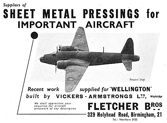 Fletcher Bros Sheet Metal Pressings 1939