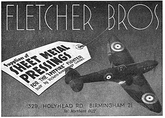 Fletcher Bros: Holyhead Rd. Birmingham. Sheet Metal Pressings